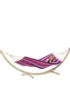 Hamaca mas soporte, de Hamacamanía es elconjunto ideal para la terraza o el jardín.